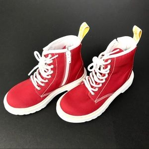 Dr Martens Kids Boots Side Zip Delaney AW004 Red